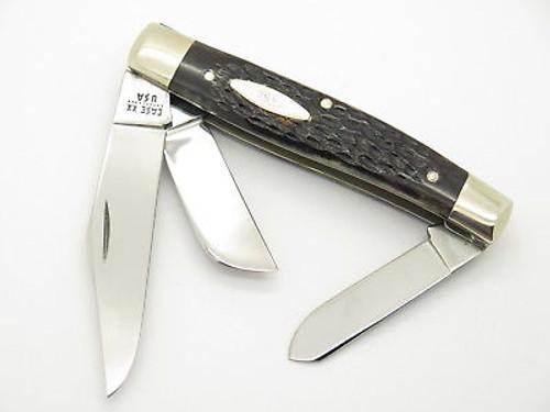 VINTAGE 1980 CASE XX 6375 LARGE STOCKMAN JIGGED BONE FOLDING POCKET KNIFE