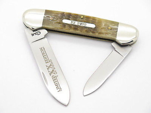 1996 CASE XX 62131 LIMITED ROGERS GREEN BONE CANOE FOLDING POCKET KNIFE