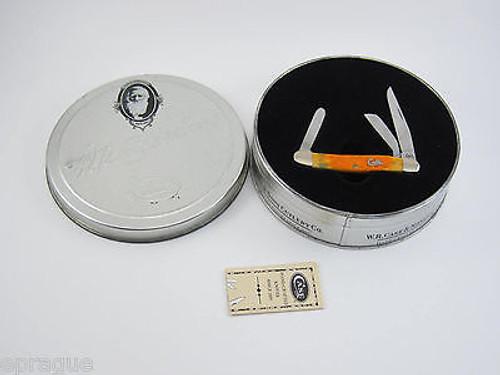 2002 CASE XX 6318 AUTUMN BONE SCRIPT CREST STOCKMAN FOLDING POCKET KNIFE TIN