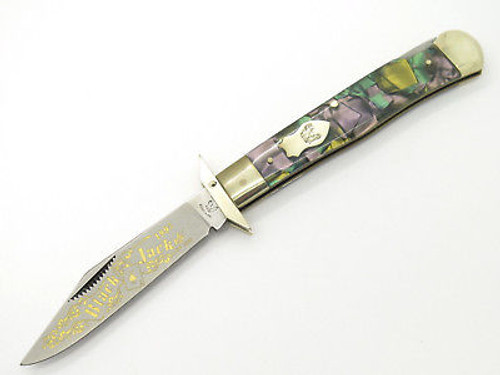 '97 FIGHT'N ROOSTER FRANK BUSTER ABALONE CHEETAH SWING GUARD FOLDING KNIFE