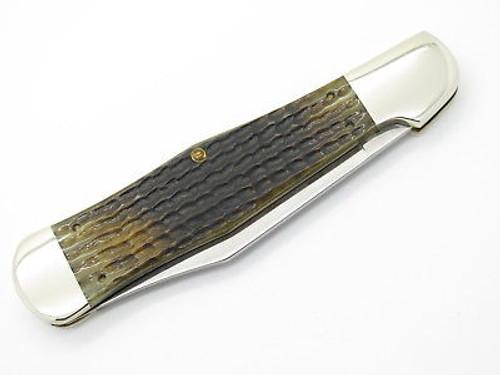 1996 CASE XX 61050 COKE BOTTLE FOLDING HUNTER KNIFE GREEN BONE LIMITED
