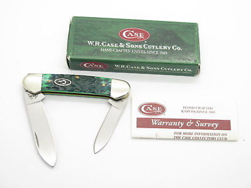 2005 CASE XX 62131 BLUEGRASS GREEN BONE CANOE FOLDING POCKET KNIFE