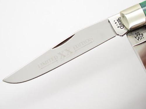 2001 LIMITED CASE XX 6254 BLUEGRASS GREEN TRAPPER FOLDING POCKET KNIFE