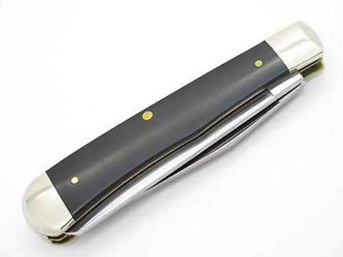 2015 CASE XX 2254 BLACK DELRIN TRAPPER FOLDING POCKET KNIFE ANTIQUE STAMP