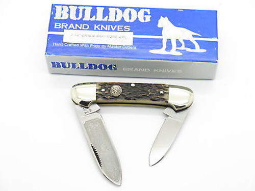 VINTAGE 1996 BULLDOG BRAND SOLINGEN PIT BULL CANOE FOLDING POCKET KNIFE BONE