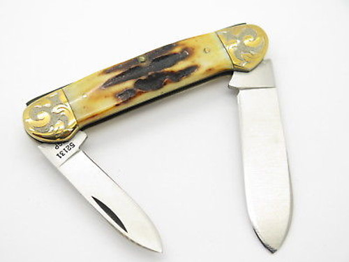 1980 CASE XX 52131 CANOE 2 BLADE STAG FOLDING POCKET KNIFE GOLD SCROLL