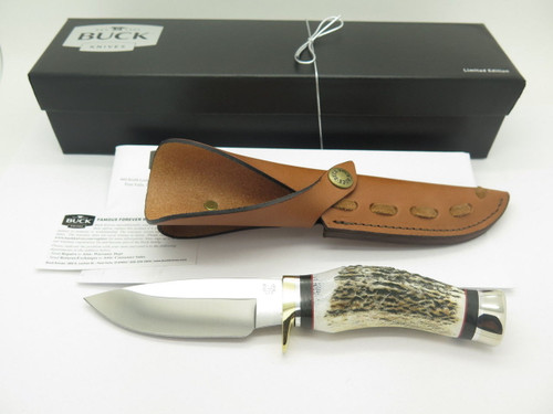 BUCK 192 VANGUARD ELK STAG ATS-34 CUSTOM SHOP FIXED BLADE HUNTING KNIFE