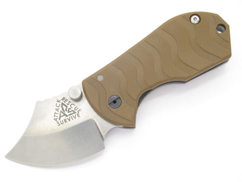 ARS ATTACK RECUE SURVIVE CUSTOM FLIP SHANK TITANIUM FRAMELOCK KNIFE 154CM BROWN
