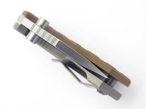 ARS ATTACK RECUE SURVIVE CUSTOM FLIP SHANK TITANIUM FRAMELOCK KNIFE 154CM BROWN