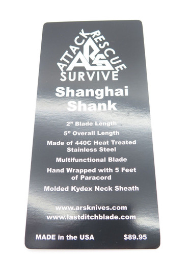 ARS ATTACK RESCUE SURVIVE CUSTOM SHANGHAI SHANK HUNTING HIKING NECK CAMP KNIFE