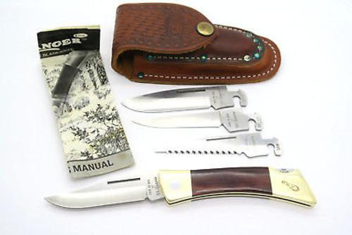 VINTAGE 1989 CASE XX BLADE CHANGER WOOD FOLDING HUNTER LOCKBACK KNIFE SAW & SHEATH