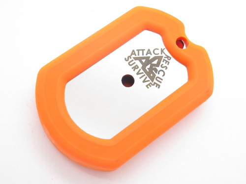 ARS ATTACK RECUE SURVIVE CUSTOM DOG TAG KNIFE SURVIVAL KIT COMPASS ROD ORANGE