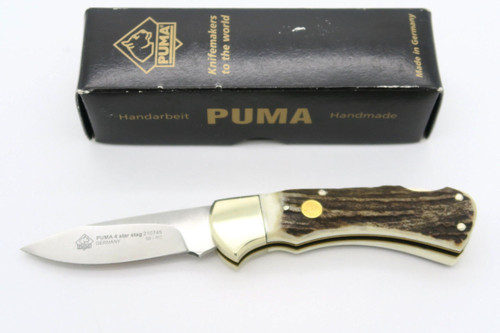 PUMA 210745 745 4 STAR STAG SOLINGEN GERMANY FOLDING HUNTER LOCKBACK KNIFE