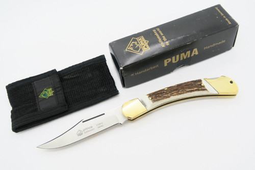 PUMA 210910 910 PRINCE SOLINGEN GERMANY STAG FOLDING HUNTER LOCKBACK KNIFE