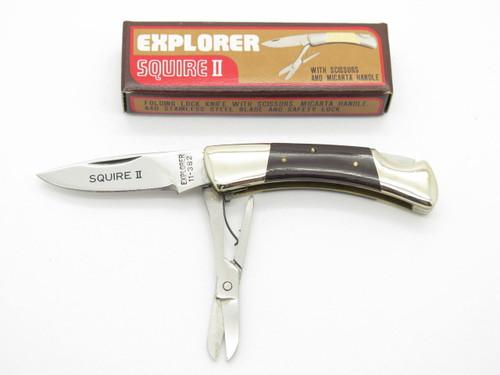 VINTAGE GUTMANN EXPLORER 11-382 SEKI JAPAN SQUIRE II MICARTA POCKET KNIFE PARKER