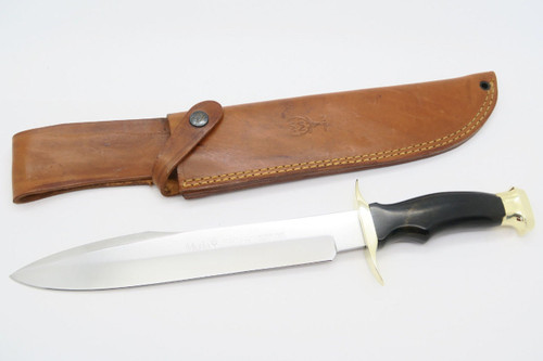 VINTAGE MUELA CORTUERO SPAIN LARGE FIXED BLADE DAGGER BOWIE HUNTING KNIFE & SHEATH
