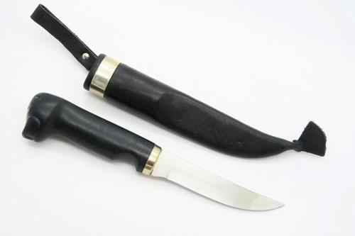 VINTAGE FISKARS BLACK SEAL HEAD FINLAND PUUKKO FIXED BLADE HUNTING KNIFE & SHEATH