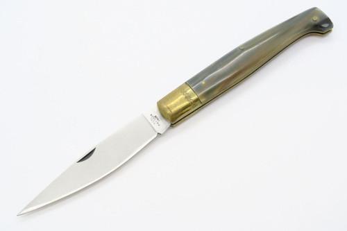 VINTAGE SARDINIAN REAL PATTADA INOX ITALY HORN HANDLE FOLDER FOLDING POCKET KNIFE