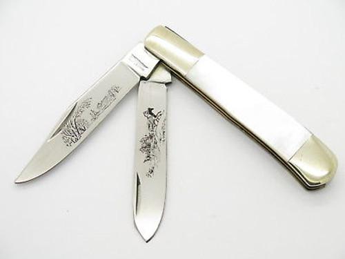VTG PARKER SEKI JAPAN TRAPPER FARM SCENE PEARL FOLDING POCKET KNIFE