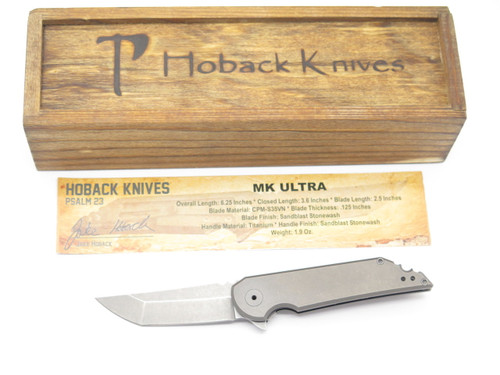 JAKE HOBACK MK ULTRA CUSTOM STONEWASH S35VN TANTO TITANIUM FOLDING POCKET KNIFE