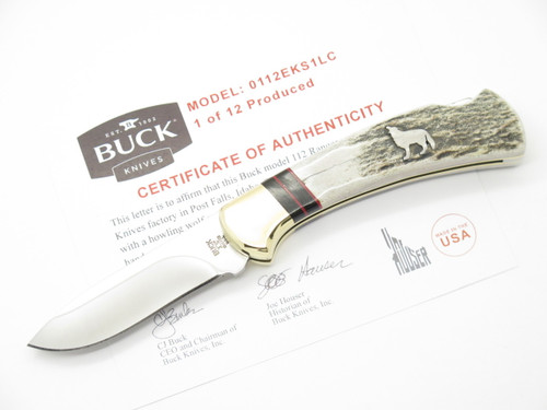 CUSTOM BUCK 112 RANGER WBC WOLF INLAY ELK STAG FOLDING HUNTER LOCKBACK KNIFE