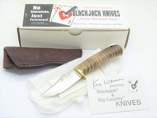 VINTAGE BLACKJACK USA SLICK MAPLE 1095 CRYO FIXED BLADE HUNTING KNIFE & SHEATH