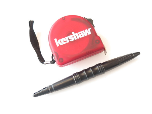 KERSHAW KNIVES KAI BLACK TACTICAL BALL POINT PEN & RED TAPE MEASURE TOOL FT 3 M