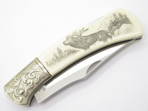 GUTMANN EXPLORER G. SAKAI SEKI JAPAN FOLDING LOCKBACK POCKET KNIFE SCRIMSHAW ELK