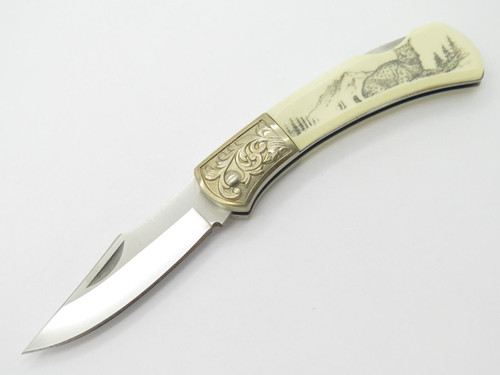 GUTMANN EXPLORER G SAKAI SEKI JAPAN FOLDING LOCKBACK POCKET KNIFE SCRIMSHAW LYNX