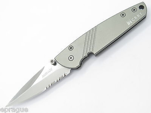 COLUMBIA RIVER CRKT 7713 LARGE SILVER MIRAGE AUS6 FOLDING POCKET KNIFE
