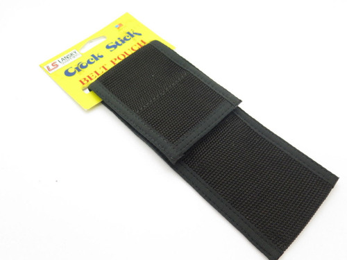 VINTAGE LANSKY KNIFE SHARPENER CROCK STICK BLACK NYLON POUCH SHEATH USA