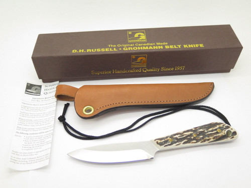 VINTAGE GROHMANN DH AG RUSSELL 3 BOAT FIXED BLADE HUNTING KNIFE STAG DHR-H3S MINT