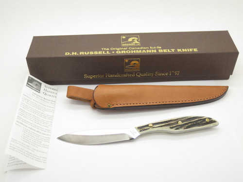 VINTAGE GROHMANN DH AG RUSSELL 2 BIRD & TROUT FIXED BLADE HUNTING KNIFE STAG DHR-H2S