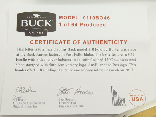 BUCK 110 50th ANNIVERSARY FOLDING HUNTER KNIFE 440C LOCHSA STYLE CUSTOM BUILDOUT