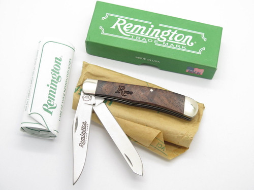 REMINGTON UMC USA R161 R700 WOOD TRAPPER FOLDING POCKET KNIFE & BOX