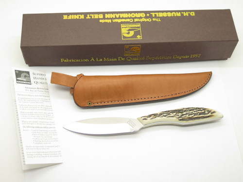 VINTAGE GROHMANN DH AG RUSSELL 1 BELT FIXED BLADE HUNTING KNIFE STAG DHR-H1S MINT