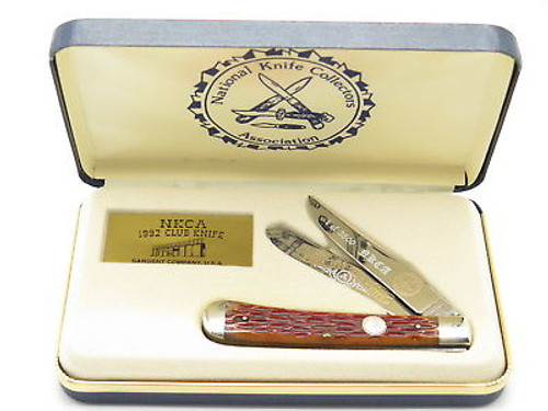 1992 QUEEN CITY SARGENT NKCA CLUB TRAPPER FOLDING POCKET KNIFE PLUS CASE