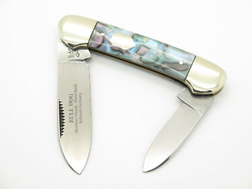 VINTAGE 1997 BULLDOG BRAND SOLINGEN ABALONE SWIRL CANOE FOLDING POCKET KNIFE