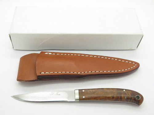SEIZO IMAI SEKI CUSTOM LOVELESS MED. CAPER WOOD HANDLE VG-10 DAMASCUS FIXED KNIFE