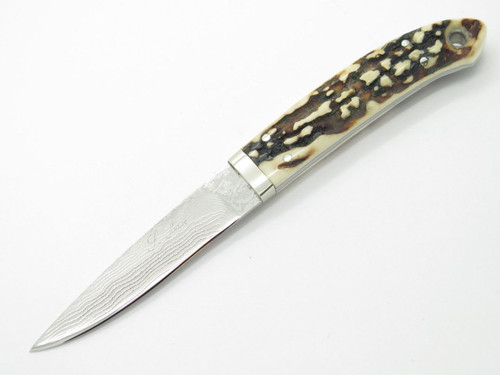 SEIZO IMAI SEKI CUSTOM LOVELESS CAPER SAMBAR STAG & VG-10 DAMASCUS FIXED KNIFE