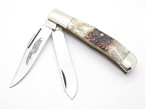 VINTAGE PARKER EAGLE SEKI JAPAN 2 BLADE STAG TRAPPER FOLDING POCKET KNIFE