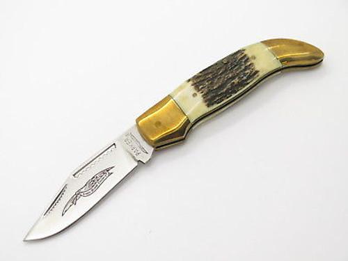VINTAGE 1980s PARKER SEKI JAPAN STAG MINI FOLDING HUNTER CLASP POCKET KNIFE