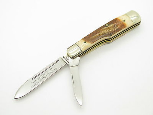 VINTAGE PARKER FROST SEKI JAPAN GUNSTOCK STAG HANDLE FOLDING POCKET KNIFE