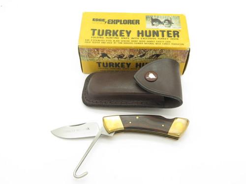 VINTAGE EXPLORER 11-330 TURKEY FOLDING HUNTER SEKI JAPAN LOCKBACK KNIFE & SHEATH NOS