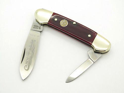 VINTAGE UNITED BOKER SOLINGEN 135 SMOOTH RED BONE CANOE FOLDING POCKET KNIFE