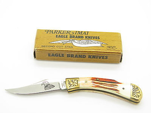 VINTAGE PARKER EAGLE BRAND K-542 SEKI JAPAN FOLDING POCKET KNIFE BY IMAI & BOX