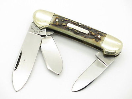 VINTAGE KANE CUTLERY GERMANY STAG CANOE STOCKMAN FOLDING POCKET KNIFE