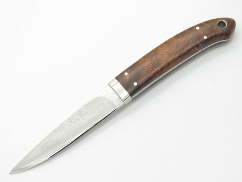SEIZO IMAI SEKI CUSTOM LOVELESS CAPER WOOD HANDLE & VG-10 DAMASCUS FIXED KNIFE