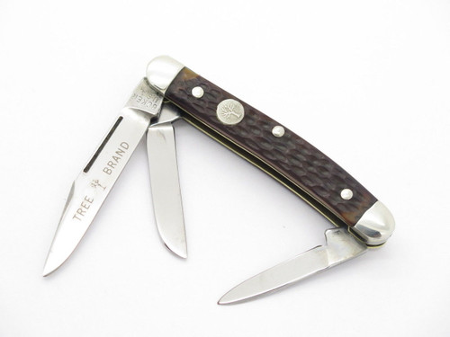 VTG 1970s BOKER USA TREE BRAND 8388 3 BLADE STOCKMAN FOLDING POCKET KNIFE