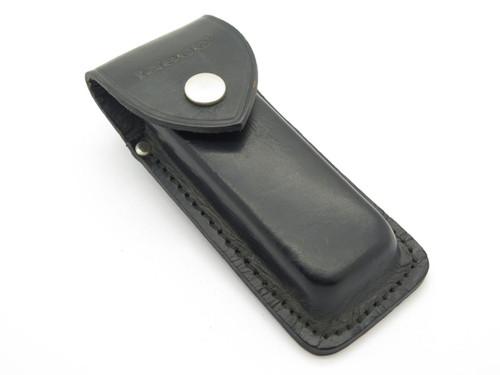 VTG TASCO FOLDING HUNTER LOCKBACK POCKET KNIFE SHEATH BLACK LEATHER